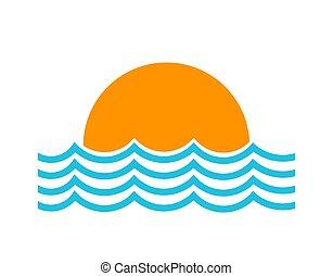 soleil, symbole, monture, mer, vagues, icon.