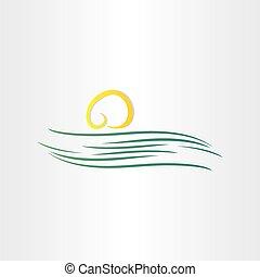 soleil, symbole, rivière