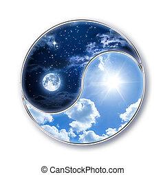 soleil, tao, -, icône, lune