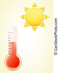 soleil, temps chaud, illustration, thermomètre