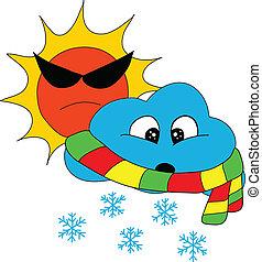 soleil, temps, neige