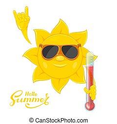 soleil, thermomètre, main
