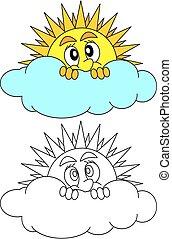 soleil, timidement, derrière, nuage, jette coup oeil