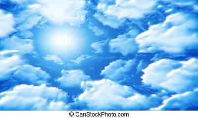 soleil, tourner, nuages, autour de