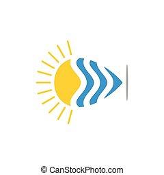 soleil, vagues, épingle, emplacement, logo, vecteur