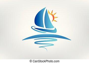 soleil, vagues, bateau, logo