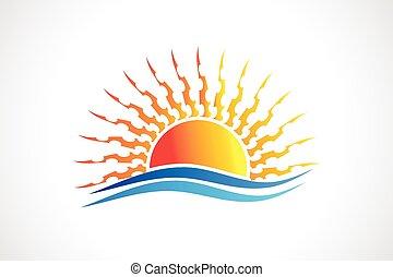 soleil, vagues, vecteur, plage, logo