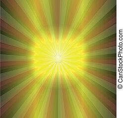 soleil, vecteur, arrière-plan vert