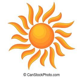 soleil, vecteur, briller, illustration., symbole.