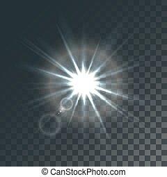 soleil, vecteur, effets, lumière