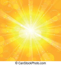 soleil, vecteur, -, fond