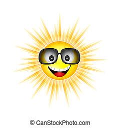 soleil, vecteur, lunettes soleil, illustration, figure