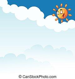 soleil, vecteur, nuages, dessin animé