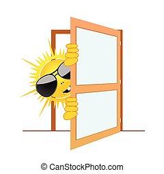 soleil, vecteur, porte, illustration