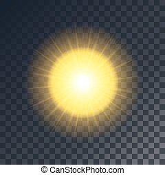 soleil, vecteur, rayons, jaune