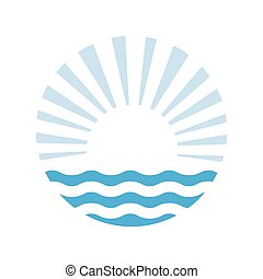 soleil, vecteur, sea., illustration, logo