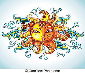 soleil, vecteur, symbole., illustration.