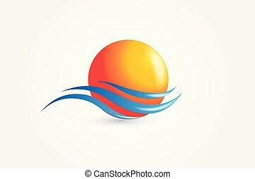 soleil, vecteur, vagues, logo