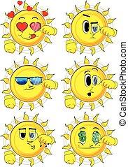 soleil, verre., magnifier, tenue, dessin animé