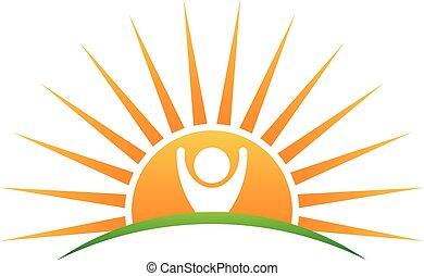 soleil, vie, logo, gens