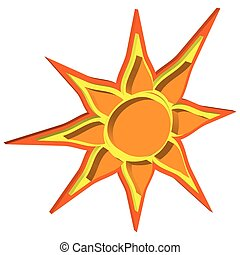 soleil, volumétrique, vecteur, effet