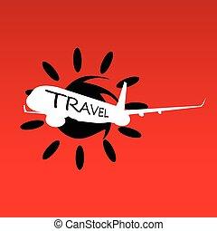 soleil, voyage, vecteur, avion