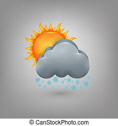 soleil, weather., neige, nuage, icône