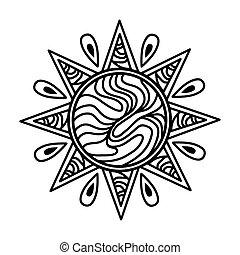 soleil, zentangle, icône