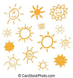 soleils, résumé, vecteur