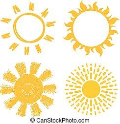 soleils, vecteur, icônes