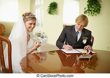 solennel, cérémonie, enregistrement, -, mariage