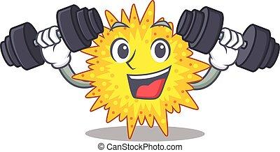 solevantar, sorrindo, barbells, mascote, exercício, mycoplasma, desenho, condicão física