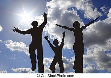 solfyldt, himmel, silhuet, familie, glade
