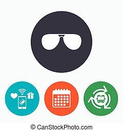 solglasögon, glasses., underteckna, icon., flygare, pilot
