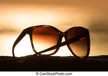 solglasögon, hos, solnedgång