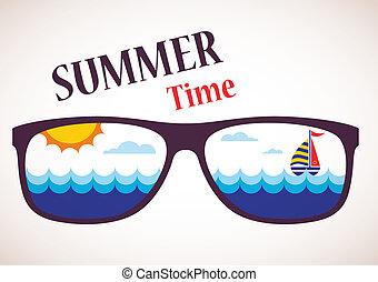 solglasögon, med, sommar, synhåll, av, ocean, hav, och, båt