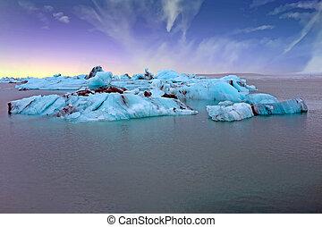 Solheimajokull Glacier in Iceland at sunrise