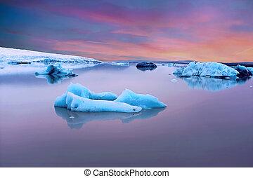 Solheimajokull Glacier in Iceland at sunset
