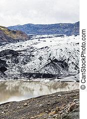 Solheimajokull glacier in Iceland in autumn