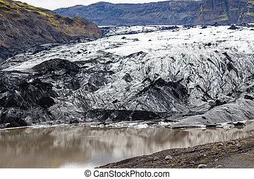 Solheimajokull glacier in Iceland in september