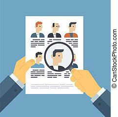 solicitantes, concepto, analizar, ilustración, resumen