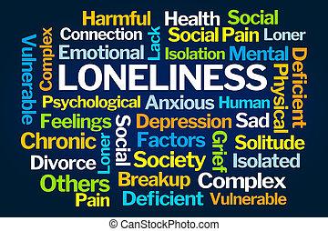 solidão, palavra, nuvem