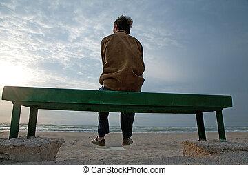 solidão, por, a, mar