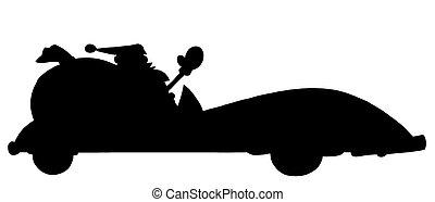 Silhouette Of Santa Driving A Conve