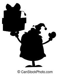 Solid black silhouette of santa