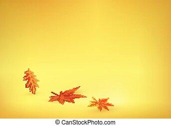 solid, blade, gul, efterår, baggrund, komme, appelsin