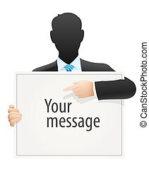 Solid businessman in suit pointing to sign message - Solid...