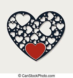 Solid color paper cut heart with red heart Inside white background vector image. Vector illustration