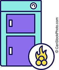 Solid fuel boiler color icon. House central heater. Firewood boiler. Heating system. Isolated vector illustration