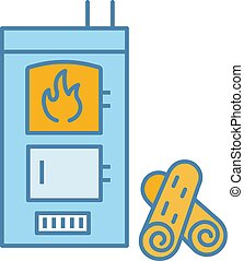 Solid fuel boiler color icon. House central heater. Firewood boiler with two chambers. Heating system. Isolated vector illustration